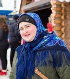 LIPETSK, RUSSLAND - 18. Februar 2018: Leute auf Maslenitsa Russischer heidnischer Feiertag Stockbilder