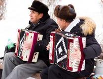 LIPETSK, RUSSLAND - 18. Februar 2018: Leute auf Maslenitsa Russischer heidnischer Feiertag Stockfotos