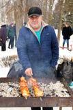LIPETSK, RUSSLAND - 18. Februar 2018: Leute auf Maslenitsa Russischer heidnischer Feiertag Stockfotografie