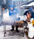 LIPETSK RYSSLAND - Februari 18, 2018: Folk på Maslenitsa Rysk hednisk ferie Fotografering för Bildbyråer