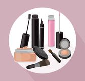 Lipgloss and cosmetics beauty collection icons template vector Stock Image