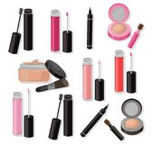 Lipgloss and cosmetics beauty collection icons template vector Stock Photos