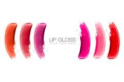 Lipgloss Kleurrijke Monsters Royalty-vrije Stock Foto's