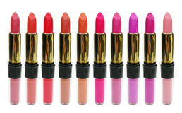 Lipgloss lipstick cosmetic set for makeup Royalty Free Stock Photography