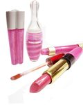 Lipgloss lipstick cosmetic set for makeup Stock Photo