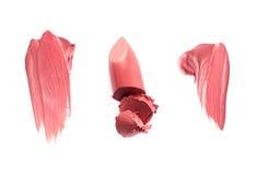 Lipgloss o muestras manchados del lápiz labial Imagenes de archivo