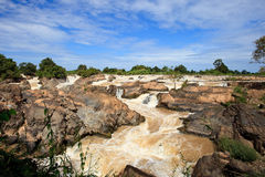 Liphi water fall or mekong river in champasak southern of laos Royalty Free Stock Image