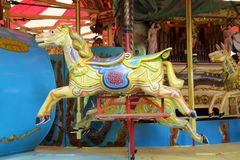 Old steam driven fairground attraction. Liphook, UK - 13 May, 2018: Old steam driven fairground attraction at the Hollycombe Steam Fair. One of several restored Stock Photos