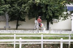 Lipica Slovenia, July 21st 2018,Spanish horse rider with his horse during public training. Spanish Riding School stock photography