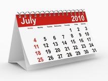 Lipiec 2010 kalendarzowych rok Obraz Stock