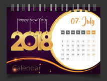 Lipiec 2018 Biurko kalendarz 2018 Fotografia Royalty Free