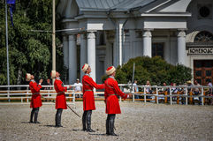 Lipiec 25, 2015 Ceremonialna prezentacja Kremlowska Jeździecka szkoła na VDNH w Moskwa Fotografia Royalty Free