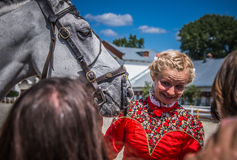 Lipiec 25, 2015 Ceremonialna prezentacja Kremlowska Jeździecka szkoła na VDNH w Moskwa Zdjęcie Stock