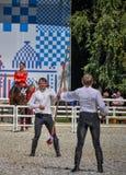 Lipiec 25, 2015 Ceremonialna prezentacja Kremlowska Jeździecka szkoła na VDNH w Moskwa Zdjęcia Stock