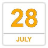 Lipiec 28 Dzień na kalendarzu Obrazy Stock