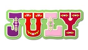Lipiec, ilustrujący imię kalendarzowy miesiąc, ilustracja Zdjęcie Royalty Free