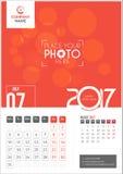 Lipiec 2017 Kalendarz 2017 Zdjęcia Royalty Free