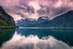 Lipiec 21, 2015: Panorama Hardanger fjord, Norwegia Zdjęcie Royalty Free