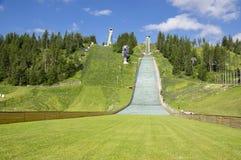 Lipiec 5, 2017, Sławni skijump wzgórza w Strbske pleso porzucającym w lato sezonie, Wysoki Tatras, Sistani Obraz Royalty Free