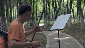 25 Lipiec, 2018 Suzhou miasto, Chiny Dorosły chiński mężczyzna bawić się erhu, dwustrunny skłoniony skrzypki w parku Erhu jest zbiory wideo