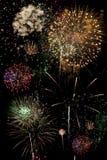 Lipiec 4th i nowy rok wigilia fajerwerków Wakacyjnego pokazu Fotografia Stock