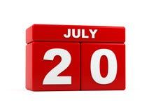 Lipiec 20th Wizerunek Lipiec 20, kalendarz na białym tle 3d Zdjęcia Royalty Free