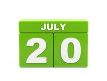 Lipiec 20th Wizerunek Lipiec 20, kalendarz na białym tle 3d Zdjęcie Royalty Free