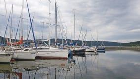 Lipno. Marine with boats and yacht on lake named Royalty Free Stock Photos