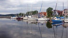 Lipno Marine. Ships and boats anchor in harbor Stock Photos