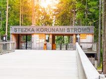 LIPNO NAD VLTAVOU, republika czech - 26 2017 Wrzesień Wejściowa brama Treetop przejście, atrakcja turystyczna blisko Zdjęcia Stock