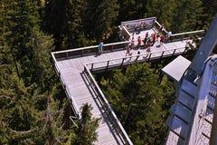 2015-07-04 Lipno-nad Vltavou, Tsjechische republiek - toeristen die zich op een houten voetgangersbrug van nieuwe toeristische at Royalty-vrije Stock Foto