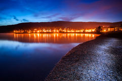 Lipno - Water Reservoir. Water reservoir of Lipno after sunset situated in the south of the Czech Republic by the town of Lipno upon Moldau (Vltava Royalty Free Stock Image