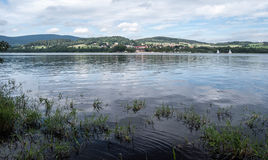Lipno water reservoir with sails near Horni Plana Royalty Free Stock Photo