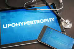 Lipohypertrophy (cutaneous disease) diagnosis medical concept on. Tablet screen with stethoscope Royalty Free Stock Images