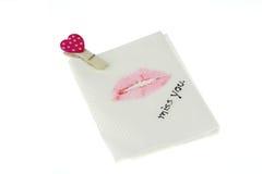 Lippen bij papieren zakdoekje Royalty-vrije Stock Foto's