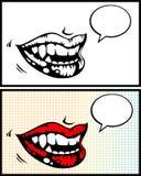 Lippen der Frau mit hellem rotem Lippenstift Lizenzfreie Stockfotos