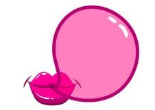 Lippen, die eine bubblegum Blase durchbrennen Lizenzfreie Stockfotografie
