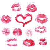 Lippen druckt Küsse - Vektorillustration lizenzfreie abbildung