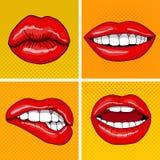 Lippen eingestellt in Retro- Knall Art Style Lizenzfreie Stockfotografie