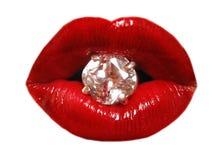 Lippen en diamant Stock Afbeeldingen
