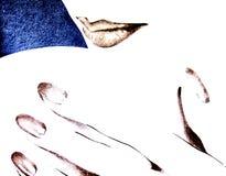 Lippen en hand royalty-vrije illustratie