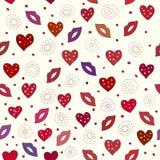 Lippen en harten naadloos patroon Stock Afbeeldingen