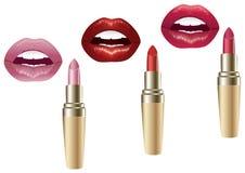 Lippen en lippenstift. Stock Foto