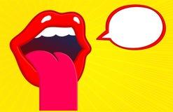 Lippen en mond plakkende tong uit hongerig voor iets smakelijk en heerlijk met toespraakbel royalty-vrije illustratie
