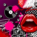 Lippen en Vinyl Royalty-vrije Stock Fotografie