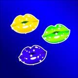 Lippen-Farbe-Brasilien-Flagge Lizenzfreies Stockbild