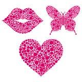 Lippen, hart, vlinder op witte achtergrond Stock Foto