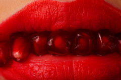 Lippen mit Korngranatapfel Stockfoto