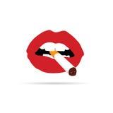 Lippen in rood met sigaretvector Stock Foto's