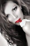Lippen und Kirsche Lizenzfreie Stockbilder